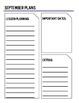 Calendar Templates with Planning Sheet