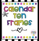 Calendar Ten Frames- Black & White with Rainbow