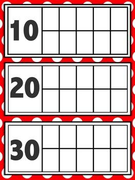 Calendar Ten Frames - Primary Color Polka Dots Variety