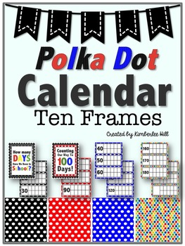 Calendar Ten Frames - Primary Color Polka Dots Variety