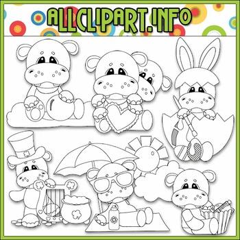 BUNDLED SET - Calendar Tid Bits Hippos 1 Clip Art & Digital Stamp Bundle
