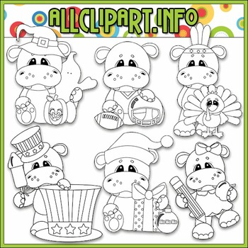 BUNDLED SET - Calendar Tid Bits Hippos 2 Clip Art & Digital Stamp Bundle