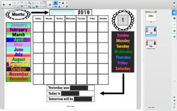 Calendar Time 2018-2019: A Smartboard Activity File