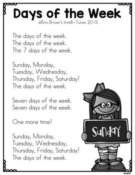 Calendar Time - Kindergarten Song Pack