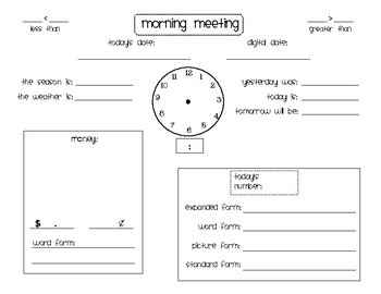 Calendar time morning meeting form by tami teaches for Morning meeting lesson plan template