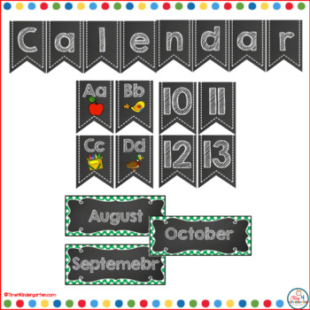 Calendar Time Wall Kit (editable) with Green Polka Dot