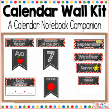 Calendar Time Wall Kit (editable) with Red Polka Dot