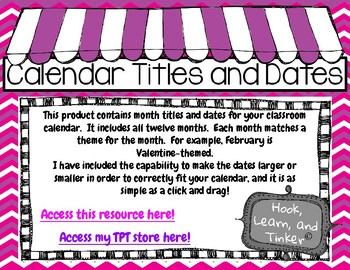 Calendar Titles and Dates