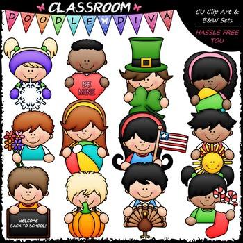 Calendar Topper Kids Clip Art - Toppers Clip Art & B&W Set