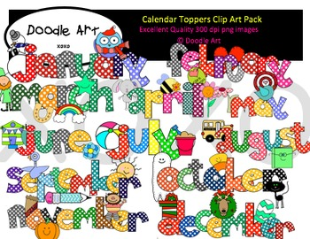 Calendar Toppers Clipart Pack
