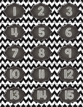 Calendar Toppers & Dates I {Black Chevron} Back to School Printables