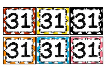 Calendar Toppers and Number Cards Polka Dot Theme