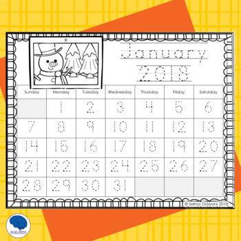 December 2019 Tracing Calendar Calendar Tracing January to December 2019 by The Blue Brain Teacher