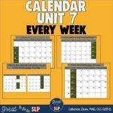 Calendar Unit 7: Every Week