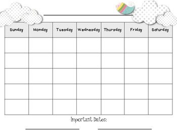 Calendar - Use for any month!