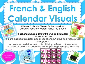 Calendar Number Bundle- Themed visuals in French and English