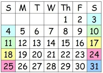 Calendar Vocabulary Graphics