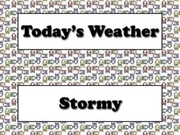 Calendar Vocabulary Strips Bundle: Weather Storms Seasons Owls Theme