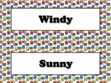 Calendar Vocabulary Strips: Weather Storms Seasons Owls Theme