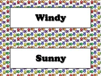 Calendar Vocabulary Strips Bundle: Weather Storms Seasons