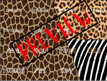 Calendar Wall Labels - Jungle / Safari