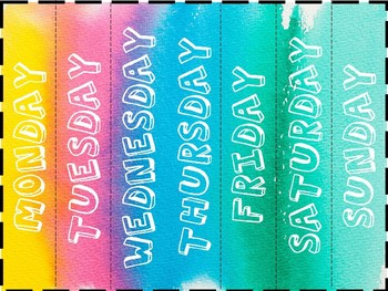 Calendar Wall Labels - Watercolor Theme