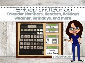 Calendar, Weather, Birthdays, Morning Meeting Display (Shiplap and Burlap)