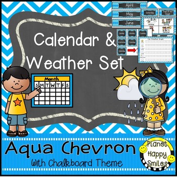 Calendar/Weather Set ~ Aqua and Chalkboard Theme