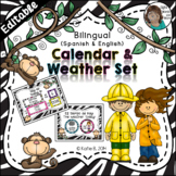 Calendar Set Editable - with a Weather Focus Bilingual {Spanish / English}