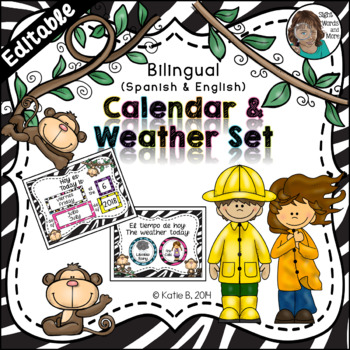Calendar Set Editable - with a Weather Focus Bilingual {Spanish / English}