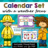 Calendar Set Chevron EDITABLE with a weather focus