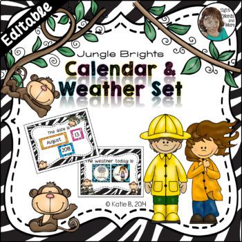 Calendar and Weather Set {Jungle Theme} Editable