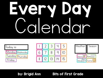 Calendar White Series with Bright Colors