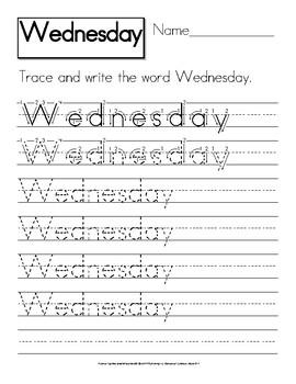 Calendar Words: Manuscript Handwriting Practice