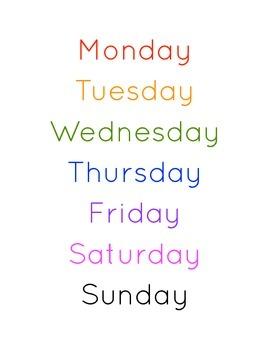 Calendar Wordstrips