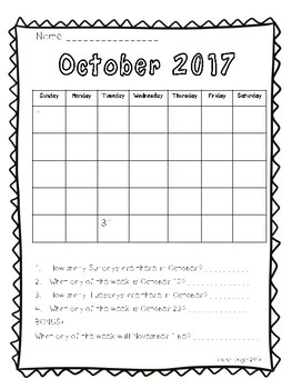 Calendar Work 2017-2018