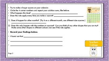Calendar Work and Calendar Investigations and Patterns