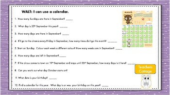 Calendar Work and Calendar Investigations and Patterns