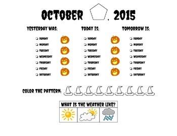 Calendar Worksheet- Oct