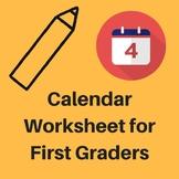 Calendar Worksheet for First Graders