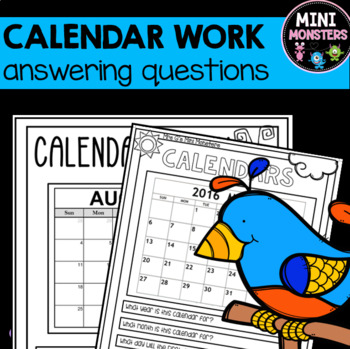 Calendar Worksheets By Mrs Gs Mini Monsters Teachers Pay Teachers