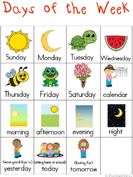 Days of the Week Writing Center Tools: Math and Science Words