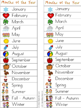 Months - Seasons Writing Center Tools: Math and Science Words