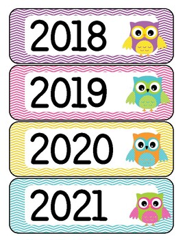 Calendar Year Labels Owl Theme FREE