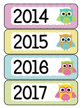 Calendar Year Labels Owl Theme FREE
