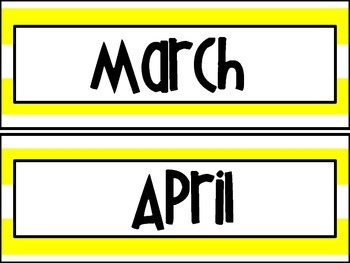 Calendar - Yellow Stripes