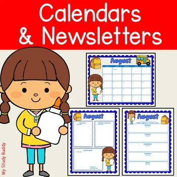 Editable Calendar and Newsletter Templates (Back to School)