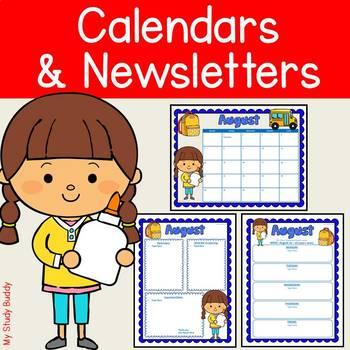 Editable Calendar and Newsletter Templates (Monthly Calendar 2018-2019)