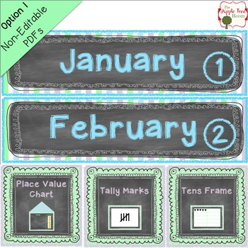 Calendar and Number of the Day Bundled Set {Editable} CCSS - Chalkboard Theme