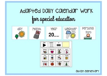 Adapted Calendar and Daily Morning Work for Special Education